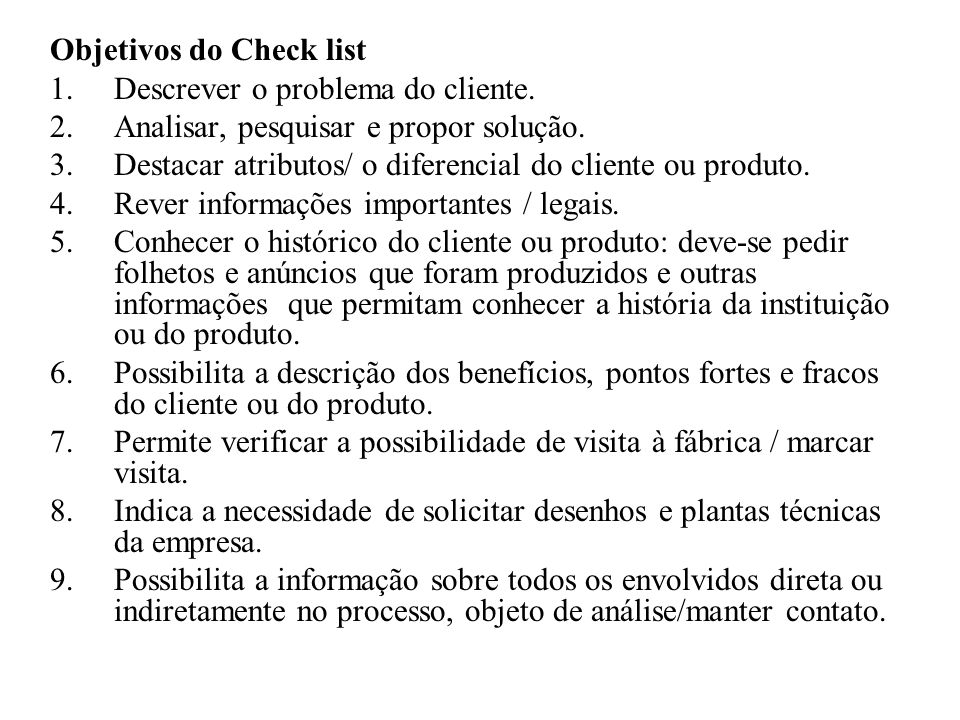 Objetivos do Check list