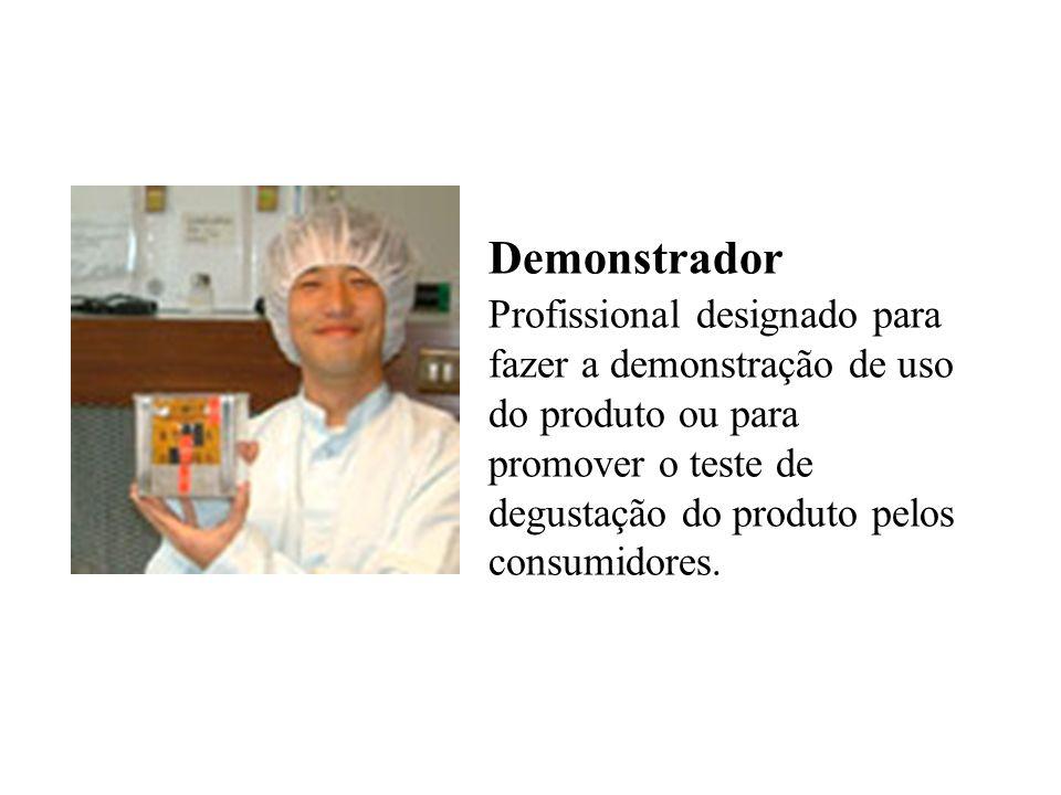 Demonstrador Profissional designado para fazer a demonstração de uso do produto ou para promover o teste de degustação do produto pelos consumidores.