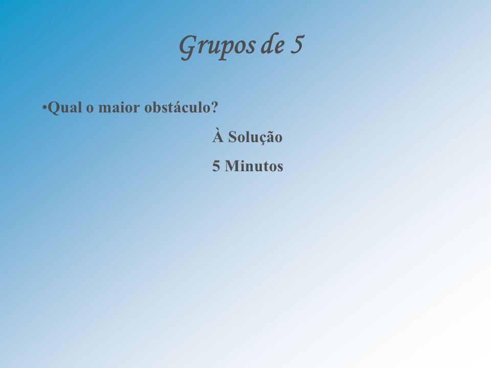 Grupos de 5 Qual o maior obstáculo À Solução 5 Minutos