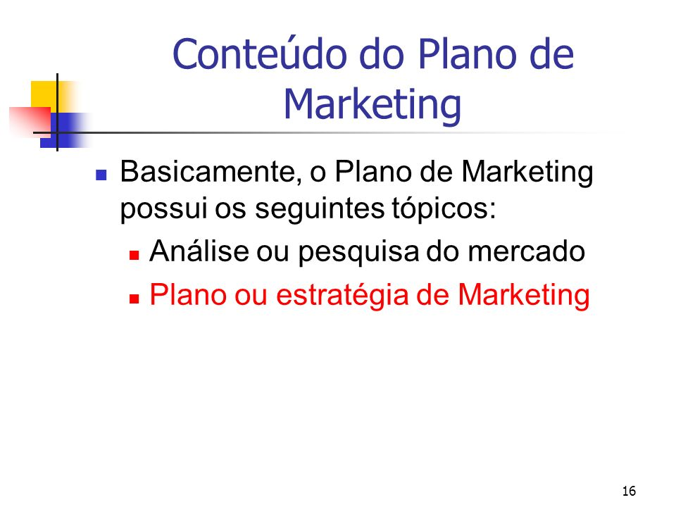 Conteúdo do Plano de Marketing