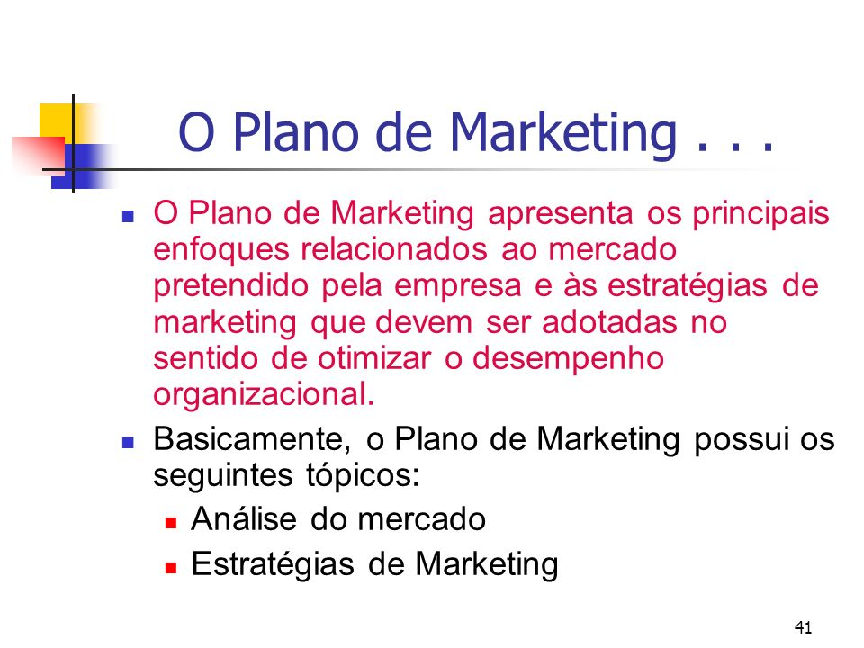 O Plano de Marketing . . .