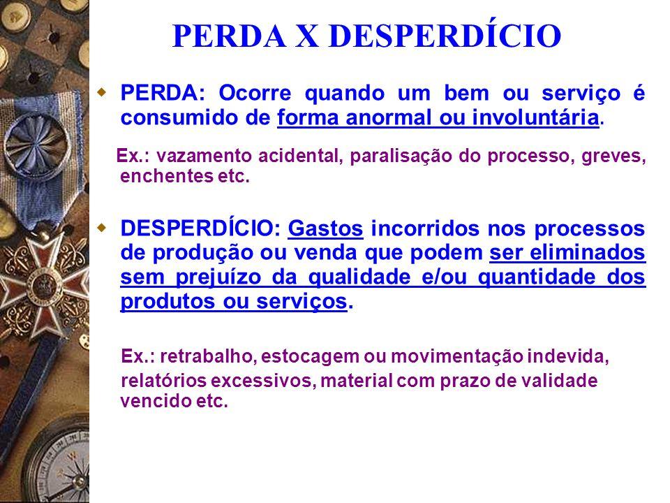 PERDA X DESPERDÍCIO PERDA: Ocorre quando um bem ou serviço é consumido de forma anormal ou involuntária.