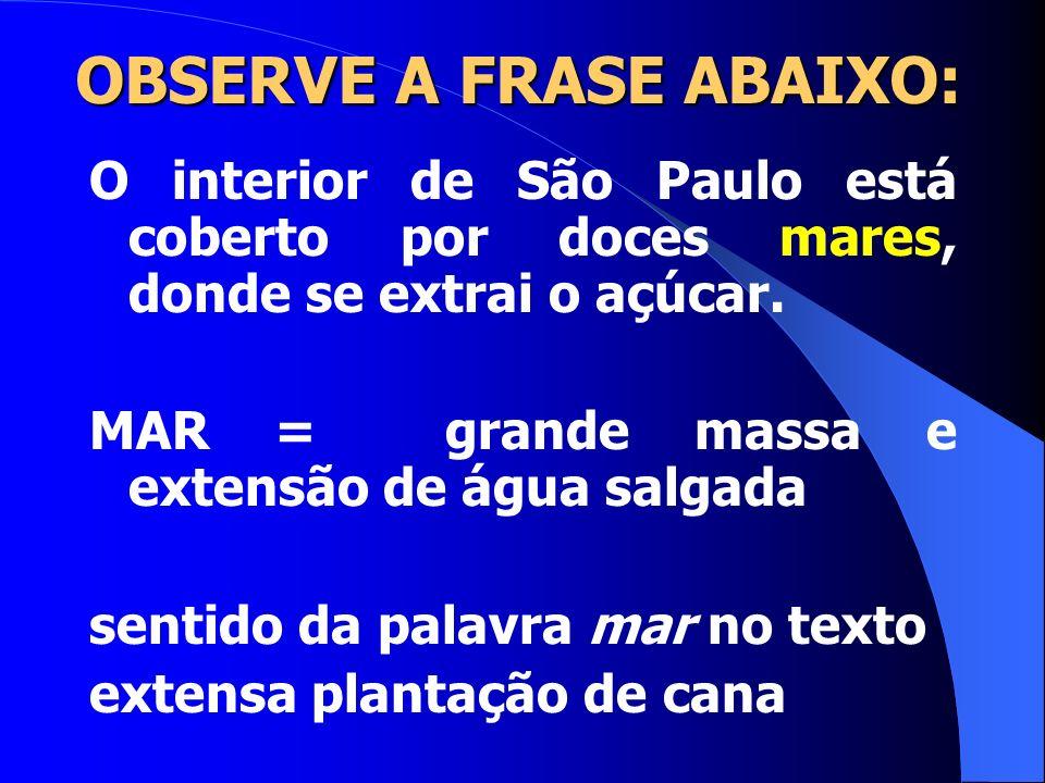 OBSERVE A FRASE ABAIXO: