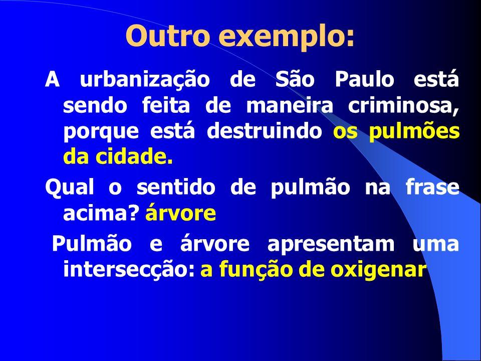Outro exemplo: A urbanização de São Paulo está sendo feita de maneira criminosa, porque está destruindo os pulmões da cidade.