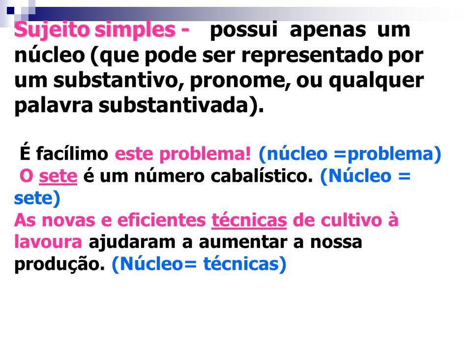 Sujeito simples - possui apenas um núcleo (que pode ser representado por um substantivo, pronome, ou qualquer palavra substantivada).