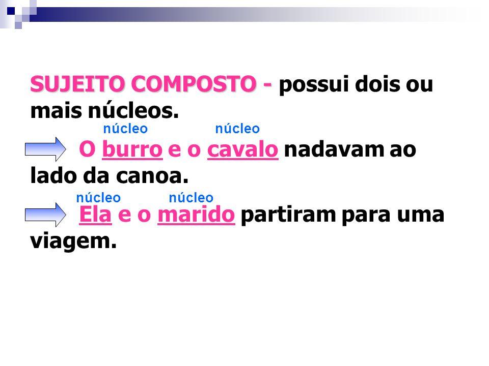 SUJEITO COMPOSTO - possui dois ou mais núcleos.