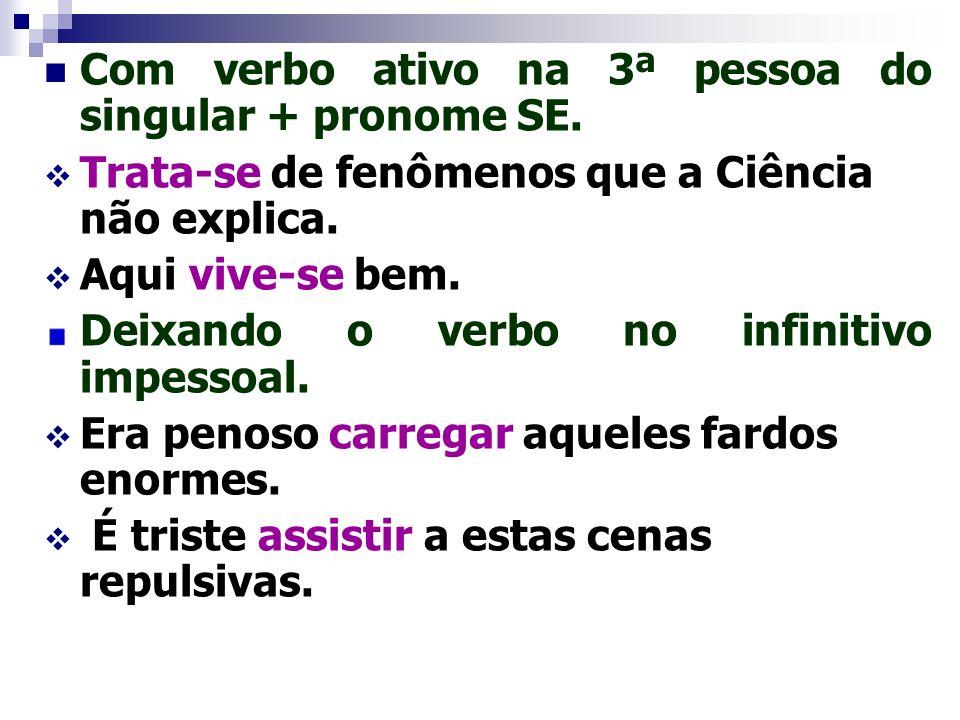 Com verbo ativo na 3ª pessoa do singular + pronome SE.