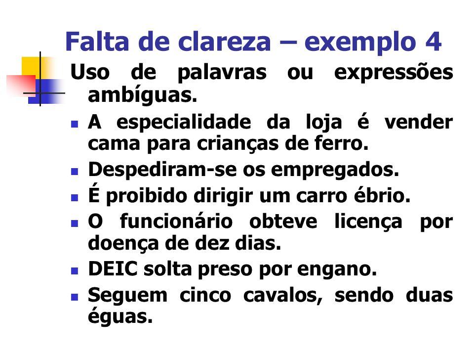 Falta de clareza – exemplo 4