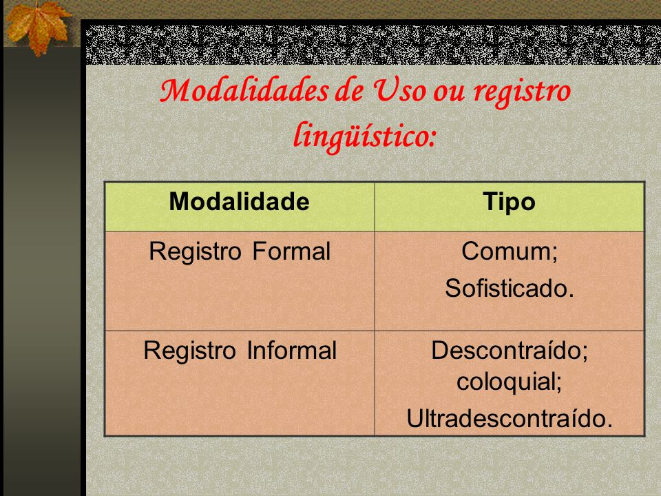 Modalidades de Uso ou registro lingüístico: