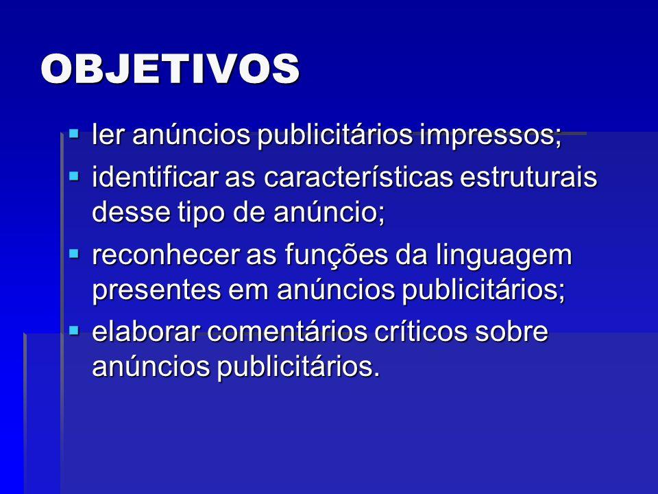 OBJETIVOS ler anúncios publicitários impressos;