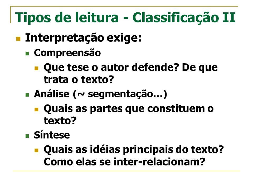 Tipos de leitura - Classificação II