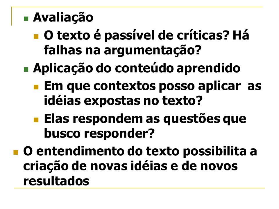 Avaliação O texto é passível de críticas Há falhas na argumentação Aplicação do conteúdo aprendido.