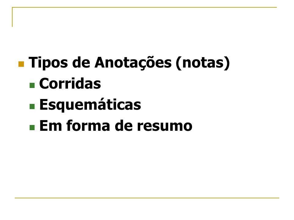 Tipos de Anotações (notas)