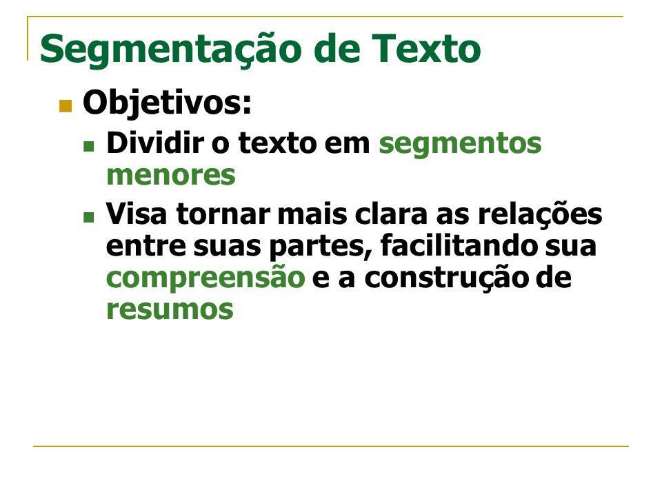 Segmentação de Texto Objetivos: Dividir o texto em segmentos menores