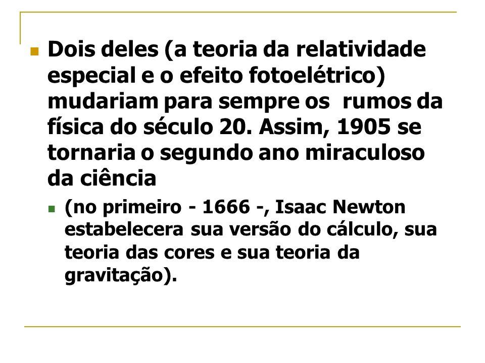 Dois deles (a teoria da relatividade especial e o efeito fotoelétrico) mudariam para sempre os rumos da física do século 20. Assim, 1905 se tornaria o segundo ano miraculoso da ciência