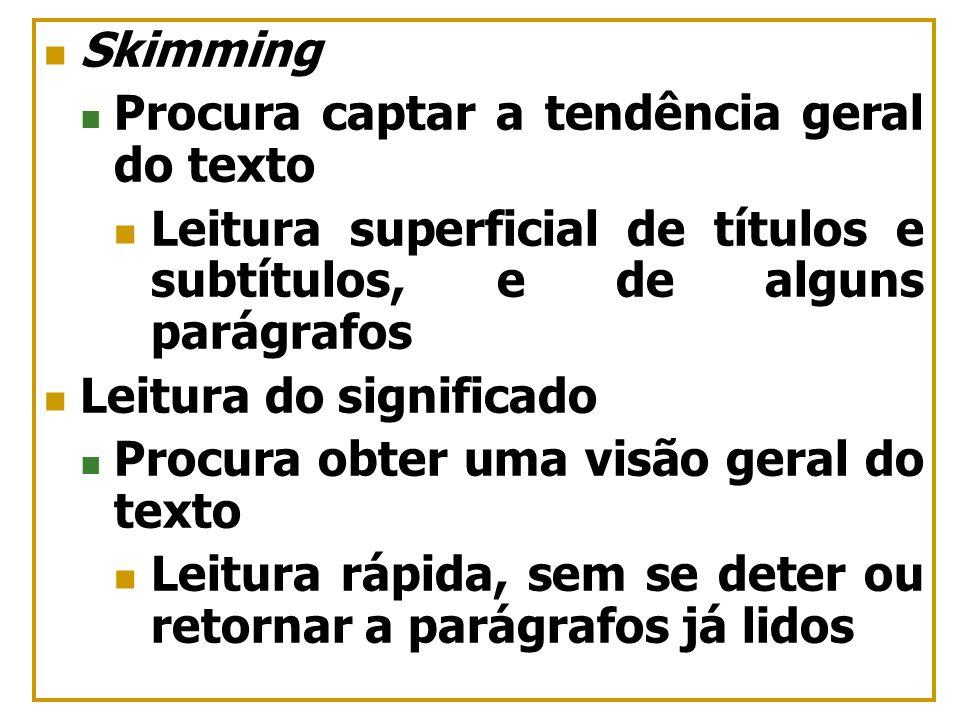 SkimmingProcura captar a tendência geral do texto. Leitura superficial de títulos e subtítulos, e de alguns parágrafos.