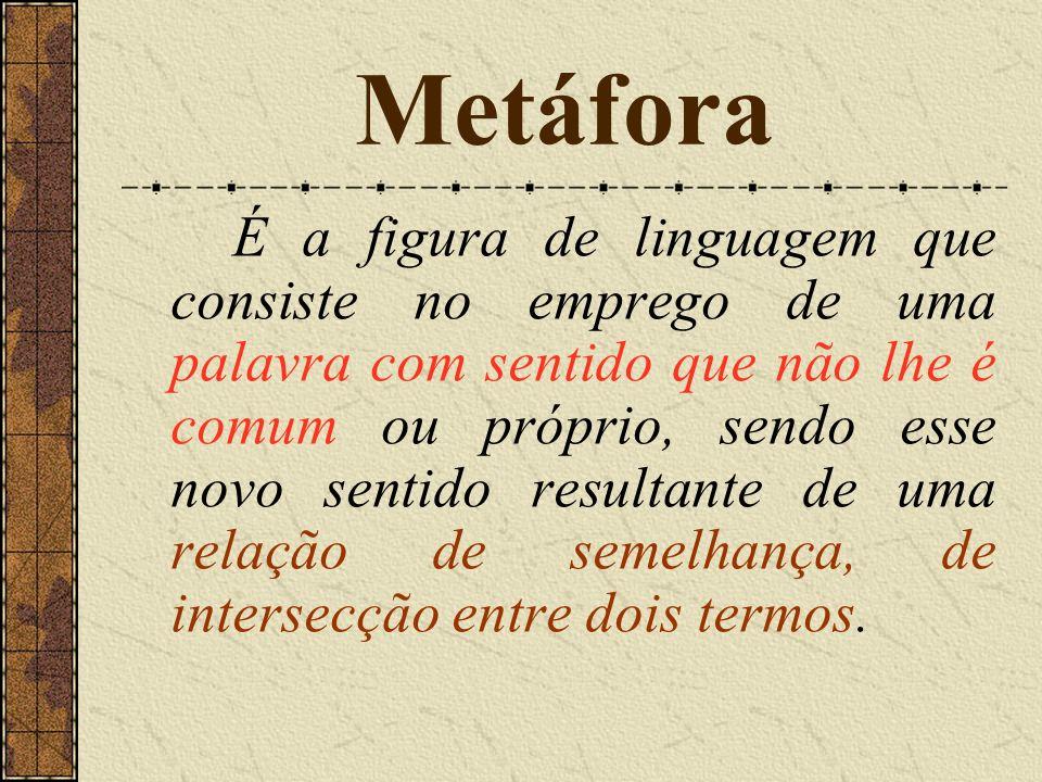 É a figura de linguagem que consiste no emprego de uma palavra com sentido que não lhe é comum ou próprio, sendo esse novo sentido resultante de uma relação de semelhança, de intersecção entre dois termos. Metáfora