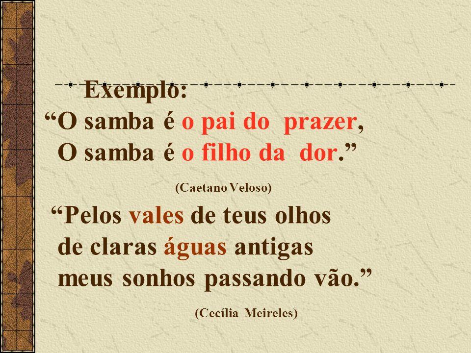Exemplo: O samba é o pai do prazer, O samba é o filho da dor