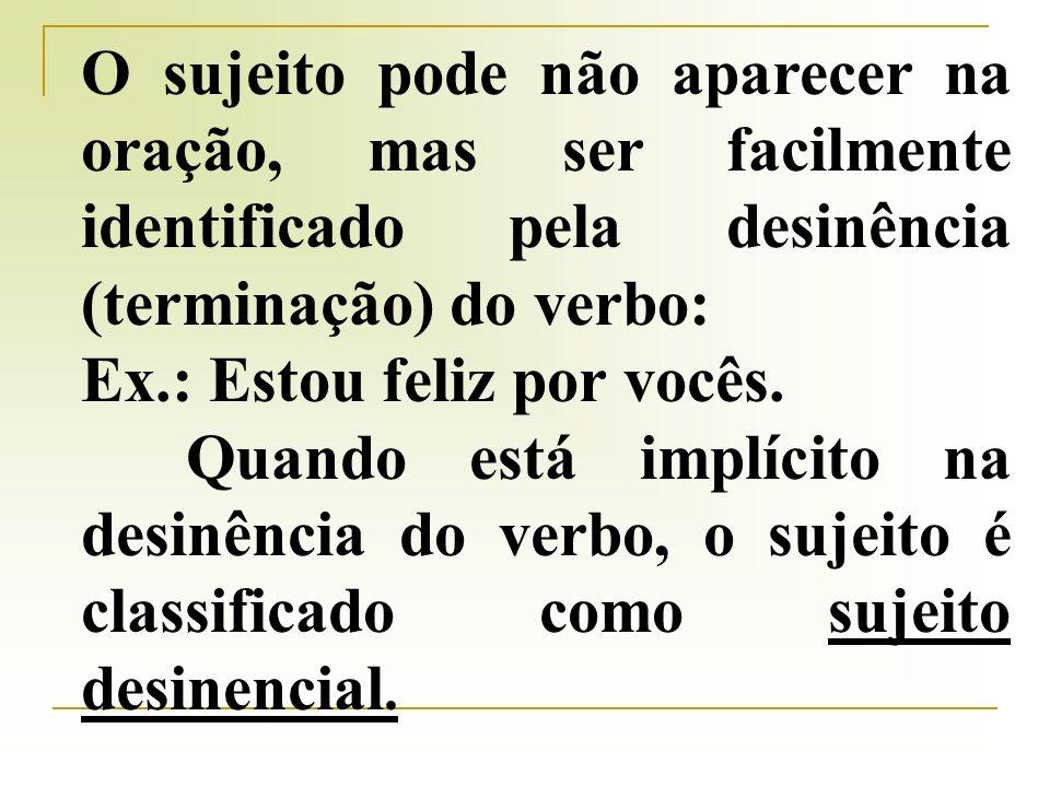 O sujeito pode não aparecer na oração, mas ser facilmente identificado pela desinência (terminação) do verbo: