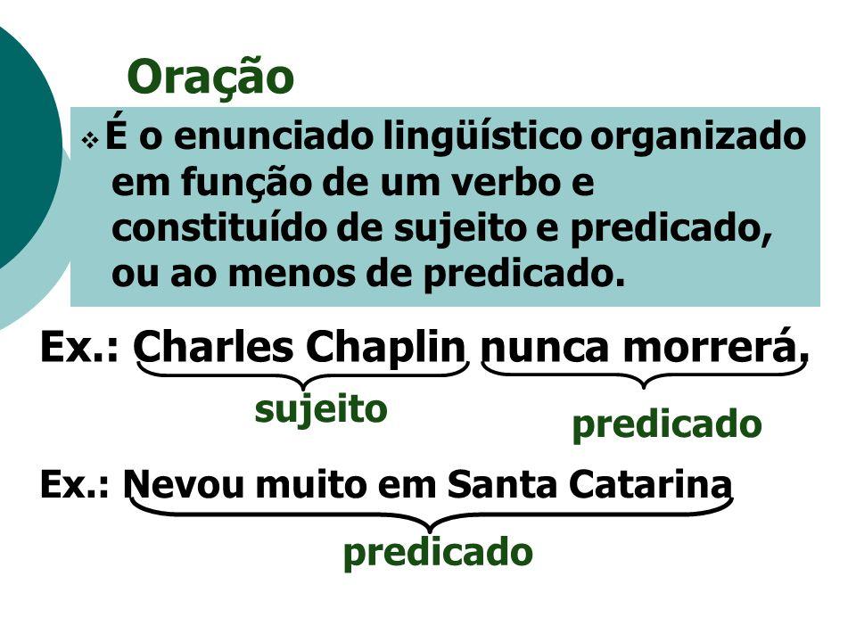 Oração Ex.: Charles Chaplin nunca morrerá. sujeito