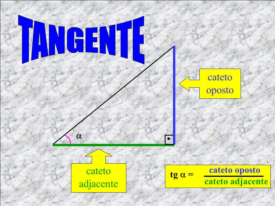 TANGENTE cateto oposto cateto adjacente  cateto oposto tg  =