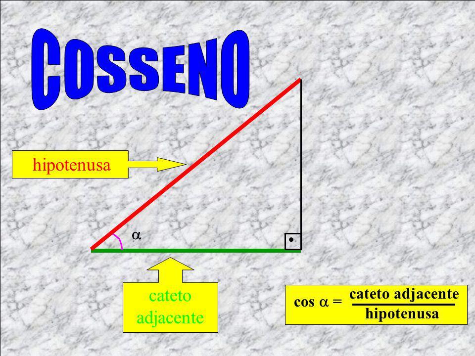 COSSENO hipotenusa cateto adjacente  cateto adjacente cos  =