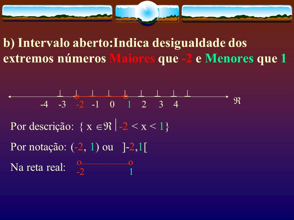 b) Intervalo aberto:Indica desigualdade dos extremos números Maiores que -2 e Menores que 1