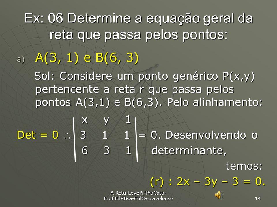 Ex: 06 Determine a equação geral da reta que passa pelos pontos: