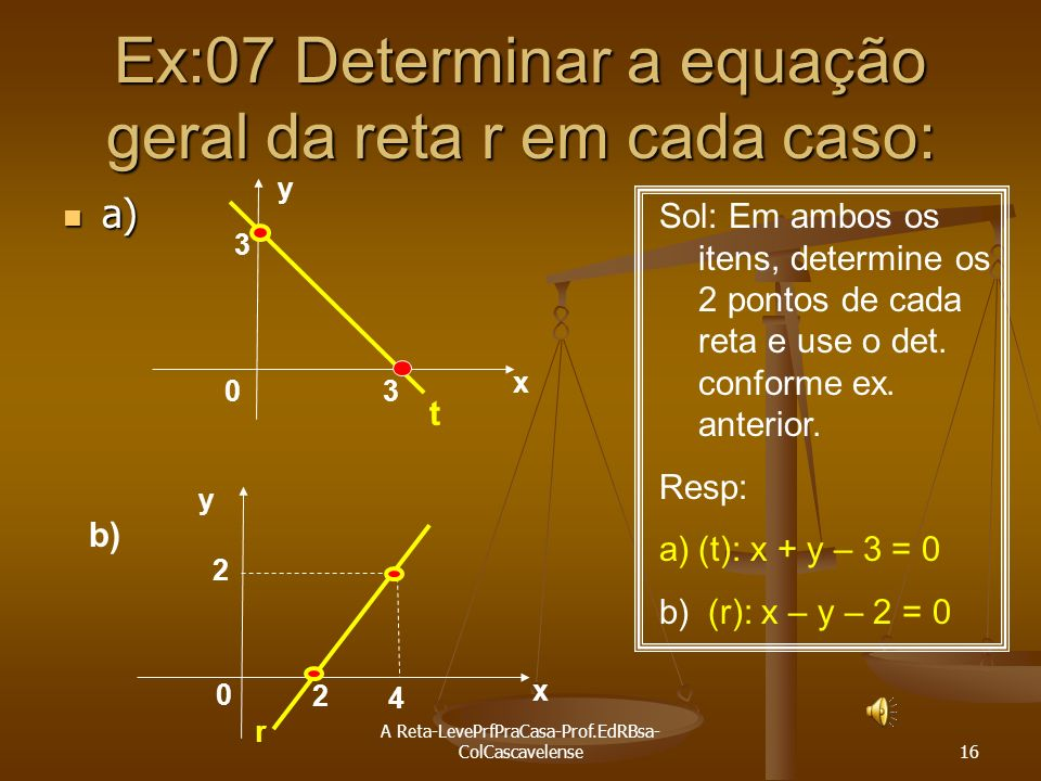 Ex:07 Determinar a equação geral da reta r em cada caso: