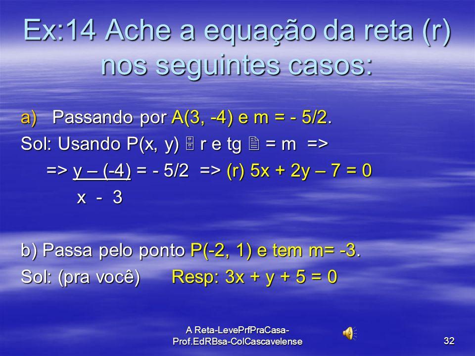 Ex:14 Ache a equação da reta (r) nos seguintes casos: