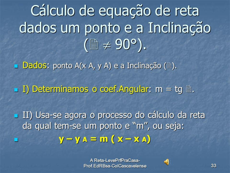 Cálculo de equação de reta dados um ponto e a Inclinação (  90°).