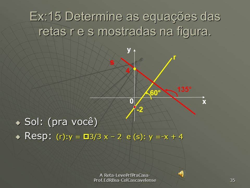 Ex:15 Determine as equações das retas r e s mostradas na figura.