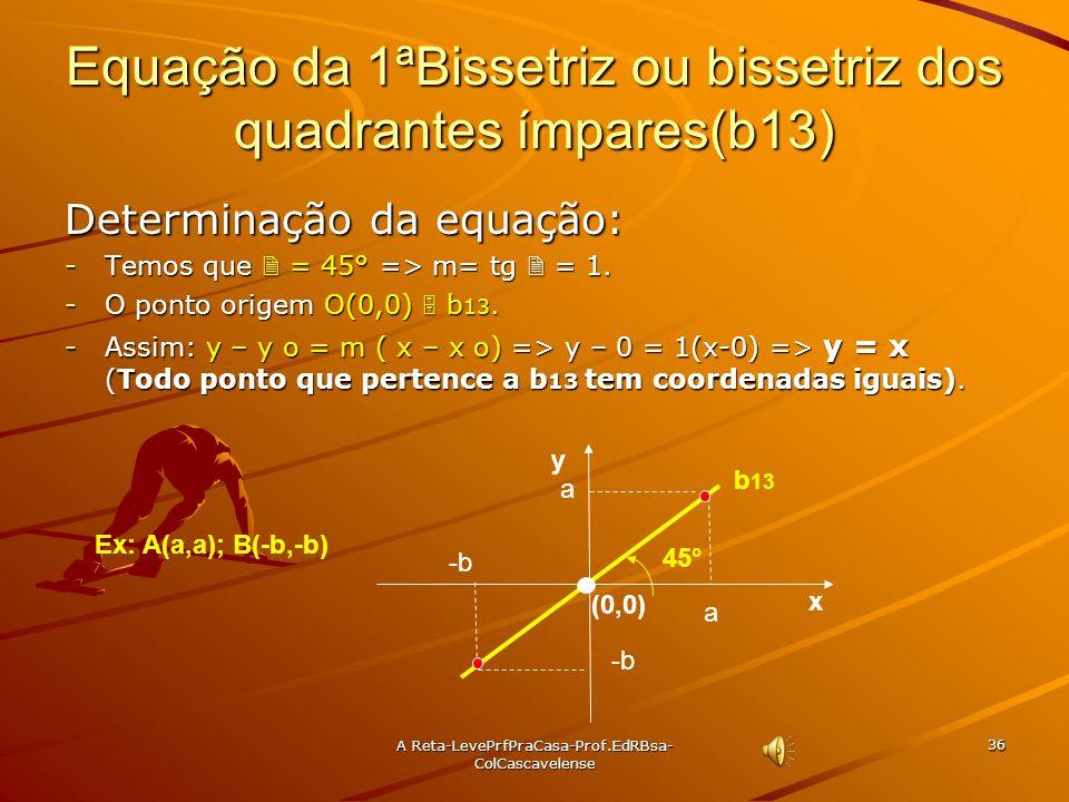 Equação da 1ªBissetriz ou bissetriz dos quadrantes ímpares(b13)