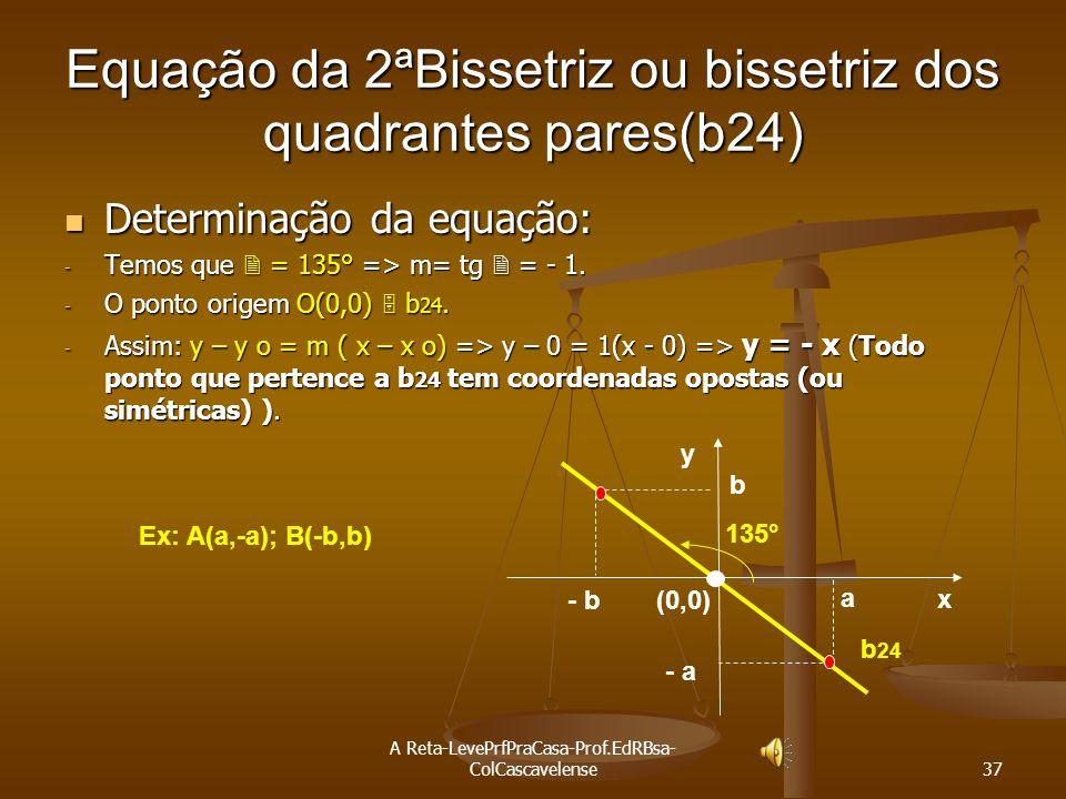 Equação da 2ªBissetriz ou bissetriz dos quadrantes pares(b24)