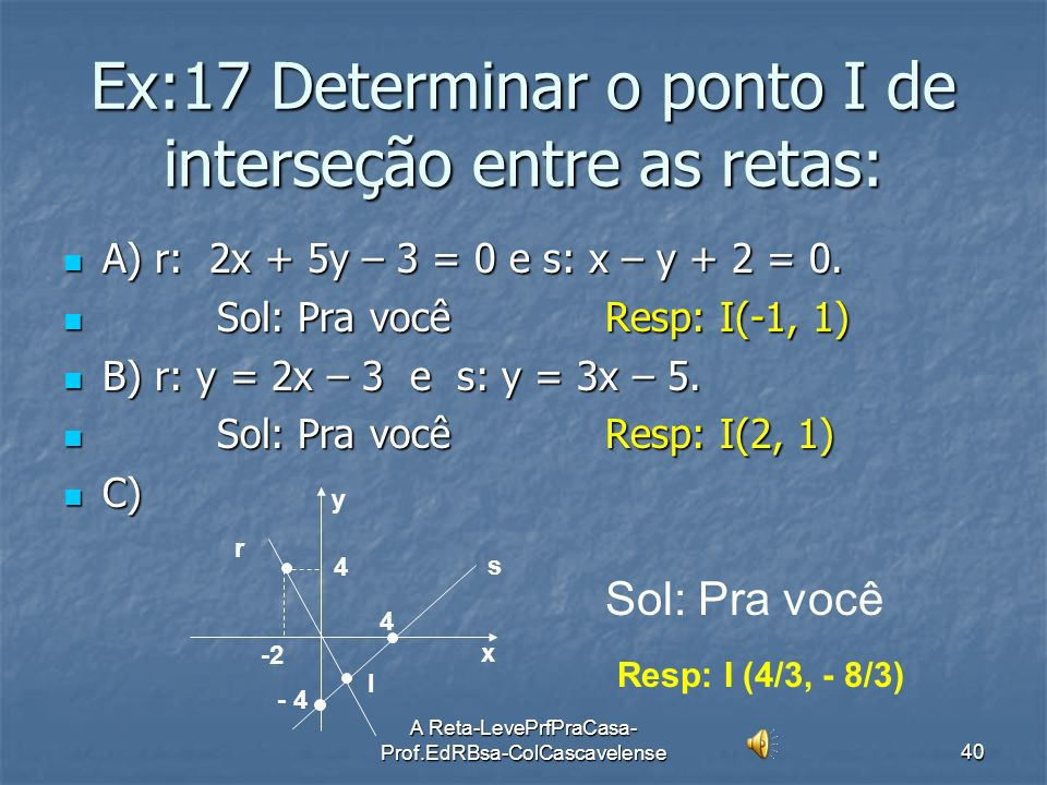 Ex:17 Determinar o ponto I de interseção entre as retas: