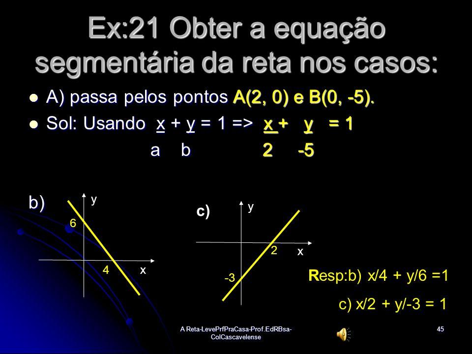Ex:21 Obter a equação segmentária da reta nos casos: