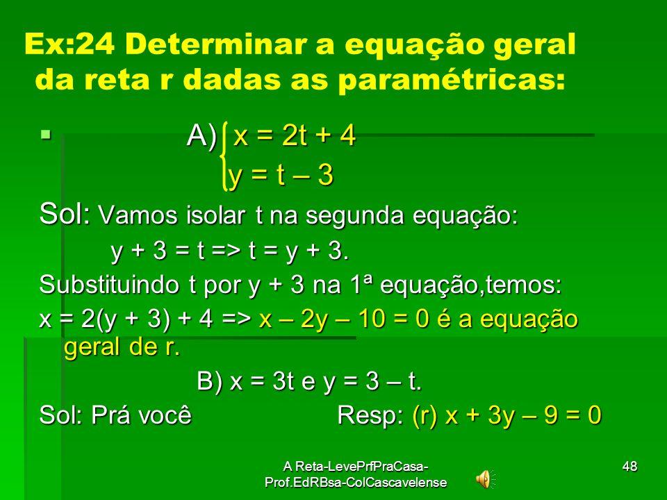 Ex:24 Determinar a equação geral da reta r dadas as paramétricas: