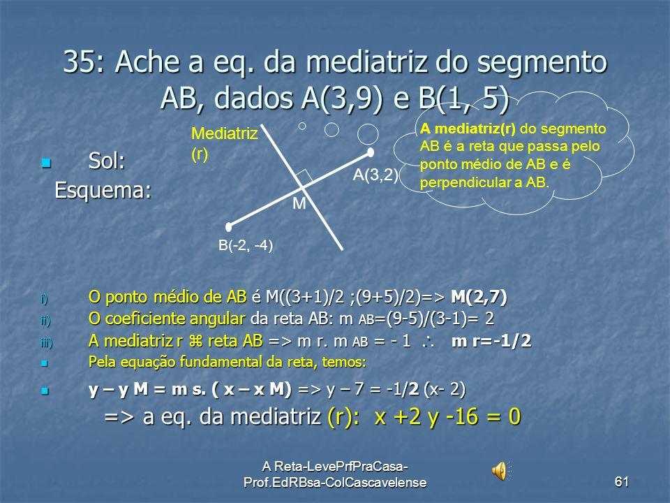 35: Ache a eq. da mediatriz do segmento AB, dados A(3,9) e B(1, 5)