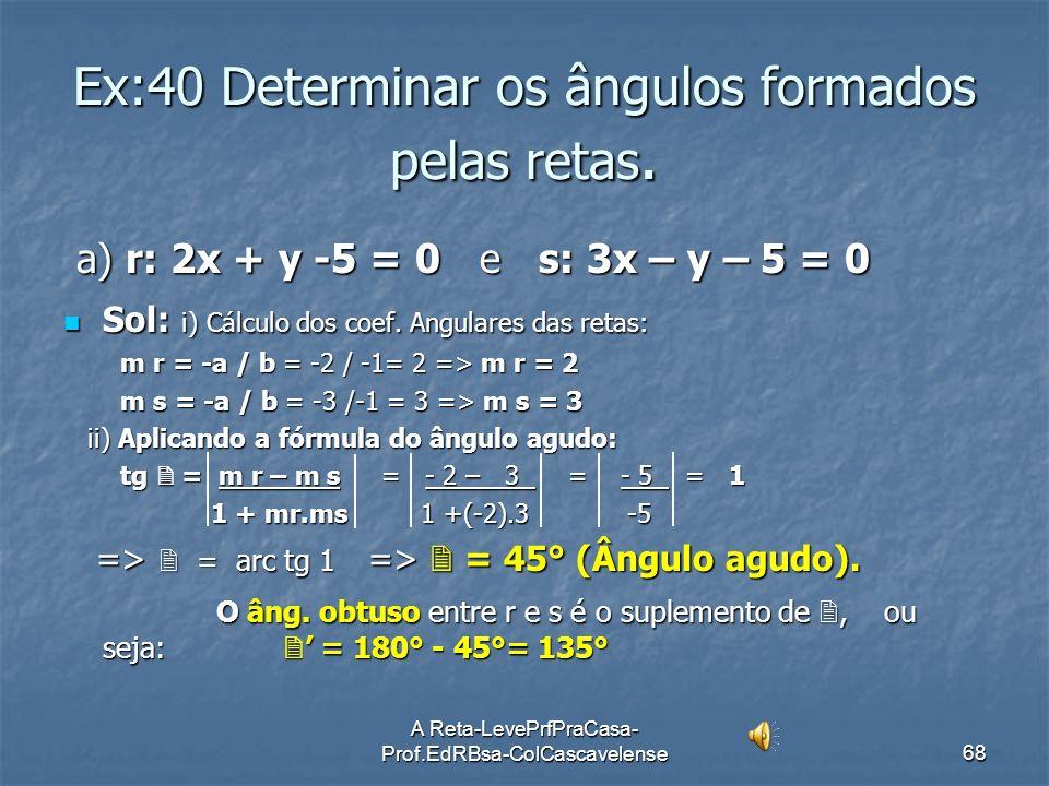 Ex:40 Determinar os ângulos formados pelas retas.