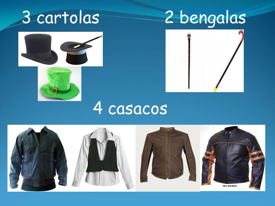 3 cartolas 2 bengalas 4 casacos