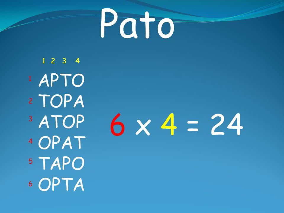 Pato 1 2 3 4 APTO TOPA ATOP OPAT TAPO OPTA 1 2 6 x 4 = 24 3 4 5 6
