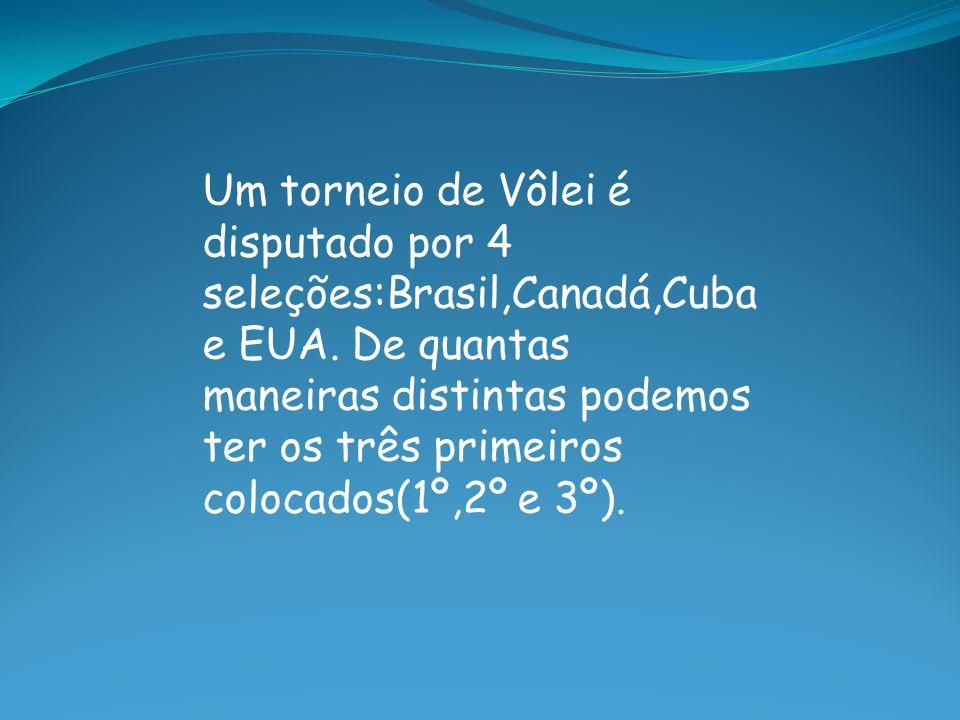 Um torneio de Vôlei é disputado por 4 seleções:Brasil,Canadá,Cuba e EUA.