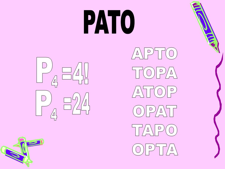 PATO APTO TOPA ATOP OPAT TAPO OPTA P =4! 4 P =24 4
