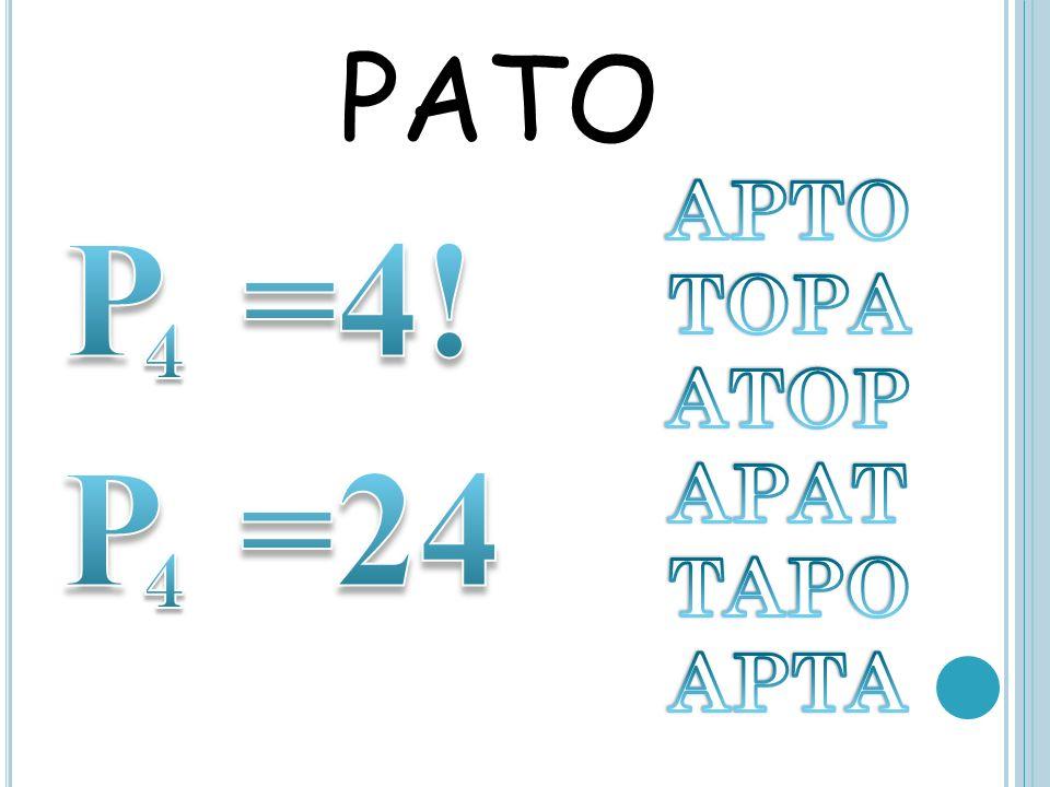 PATO APTO TOPA ATOP APAT TAPO APTA P =4! 4 P =24 4