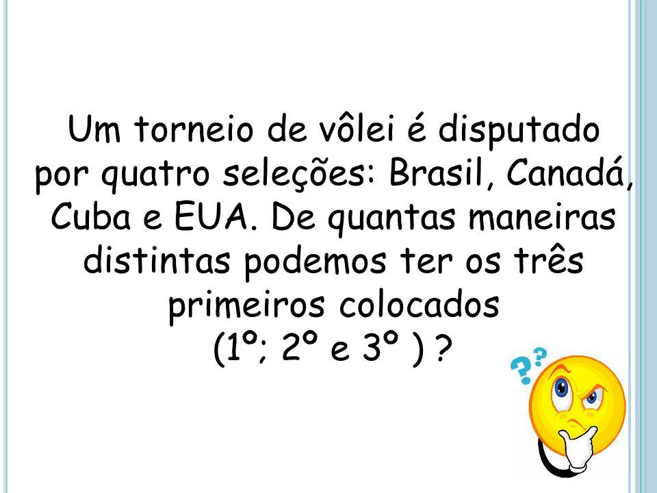 Um torneio de vôlei é disputado por quatro seleções: Brasil, Canadá, Cuba e EUA. De quantas maneiras distintas podemos ter os três primeiros colocados