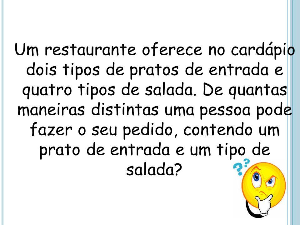 Um restaurante oferece no cardápio dois tipos de pratos de entrada e quatro tipos de salada.