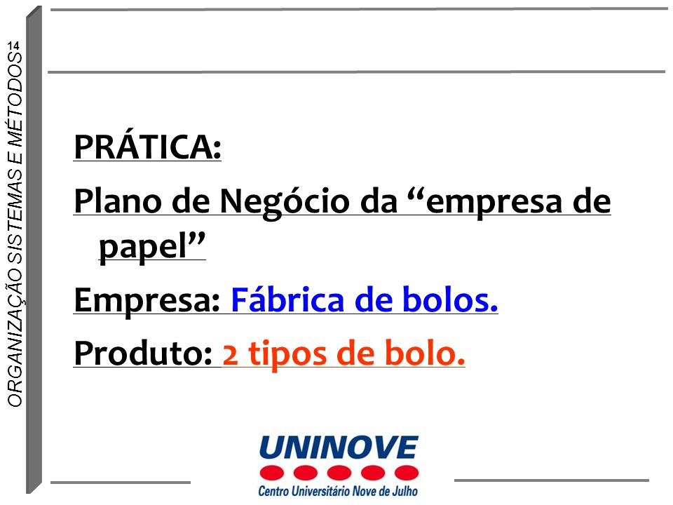 PRÁTICA: Plano de Negócio da empresa de papel Empresa: Fábrica de bolos.