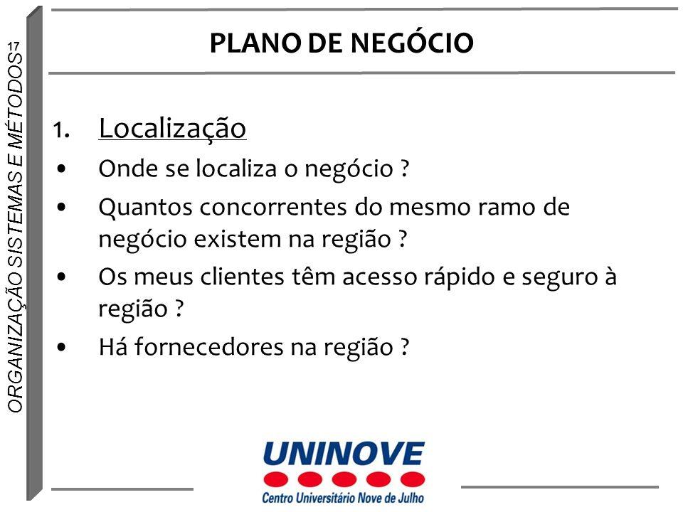 PLANO DE NEGÓCIO Localização Onde se localiza o negócio