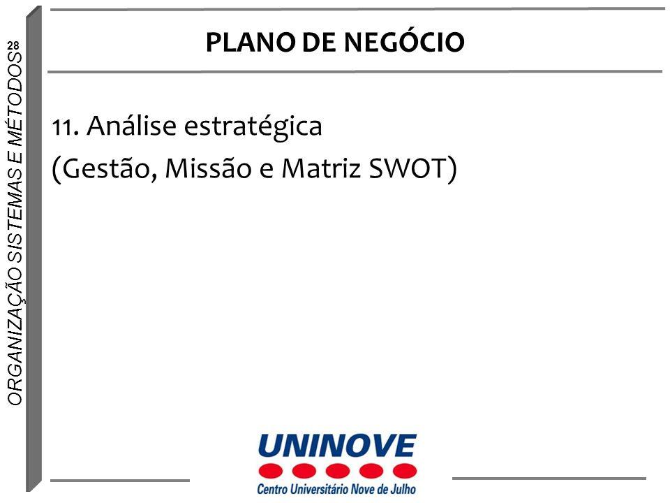 PLANO DE NEGÓCIO 11. Análise estratégica (Gestão, Missão e Matriz SWOT)
