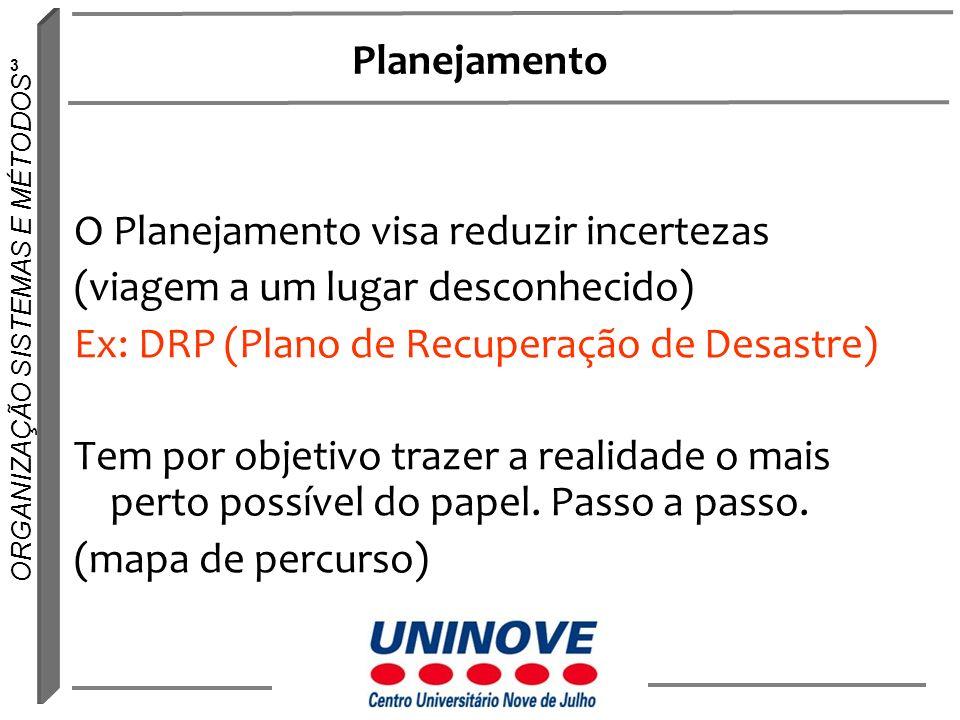 Planejamento O Planejamento visa reduzir incertezas. (viagem a um lugar desconhecido) Ex: DRP (Plano de Recuperação de Desastre)